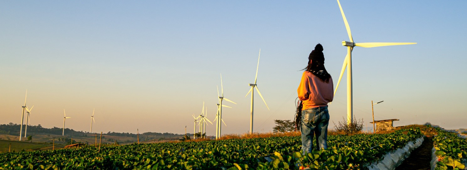 Woman with wind turbines