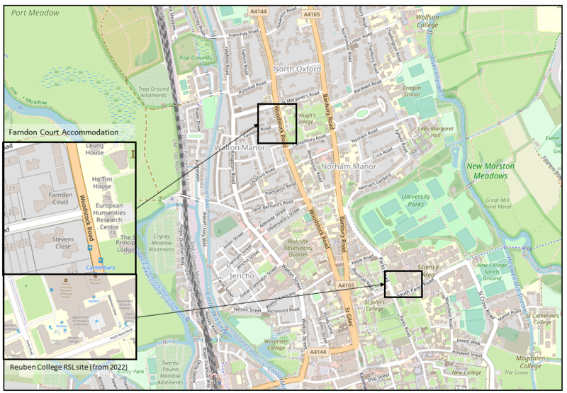 Farndon Court and Reuben College map